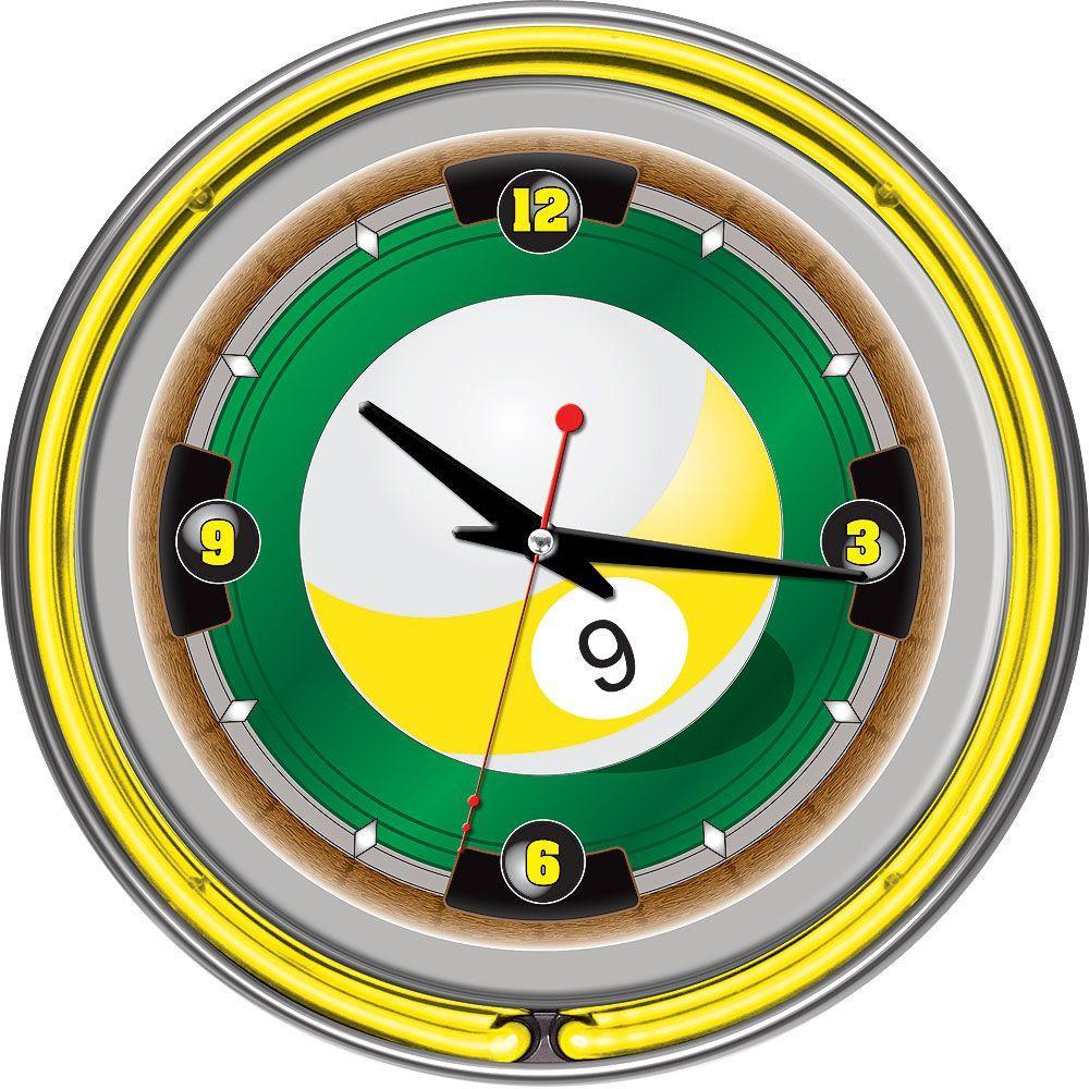 14 in. Rack'em 9 Ball Neon Wall Clock