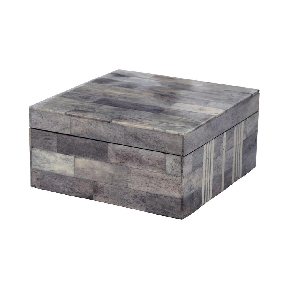 6 in. x 3 in. Gray and White Bone Decorative Box
