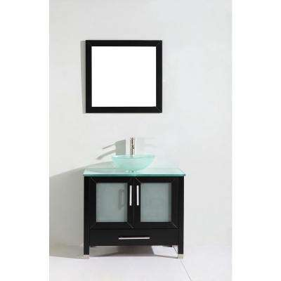 Cuba 36 in. W x 20.5 in. D x 36 in. H Vanity in Espresso with Glass Vanity Top in Aqua with Green Basin and Mirror