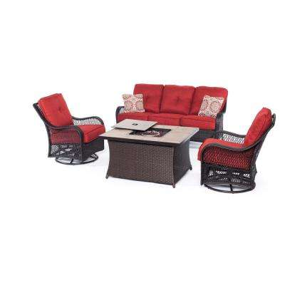 Merritt 4-Piece All-Weather Patio Fire Pit Conversation Set with Red Cushions