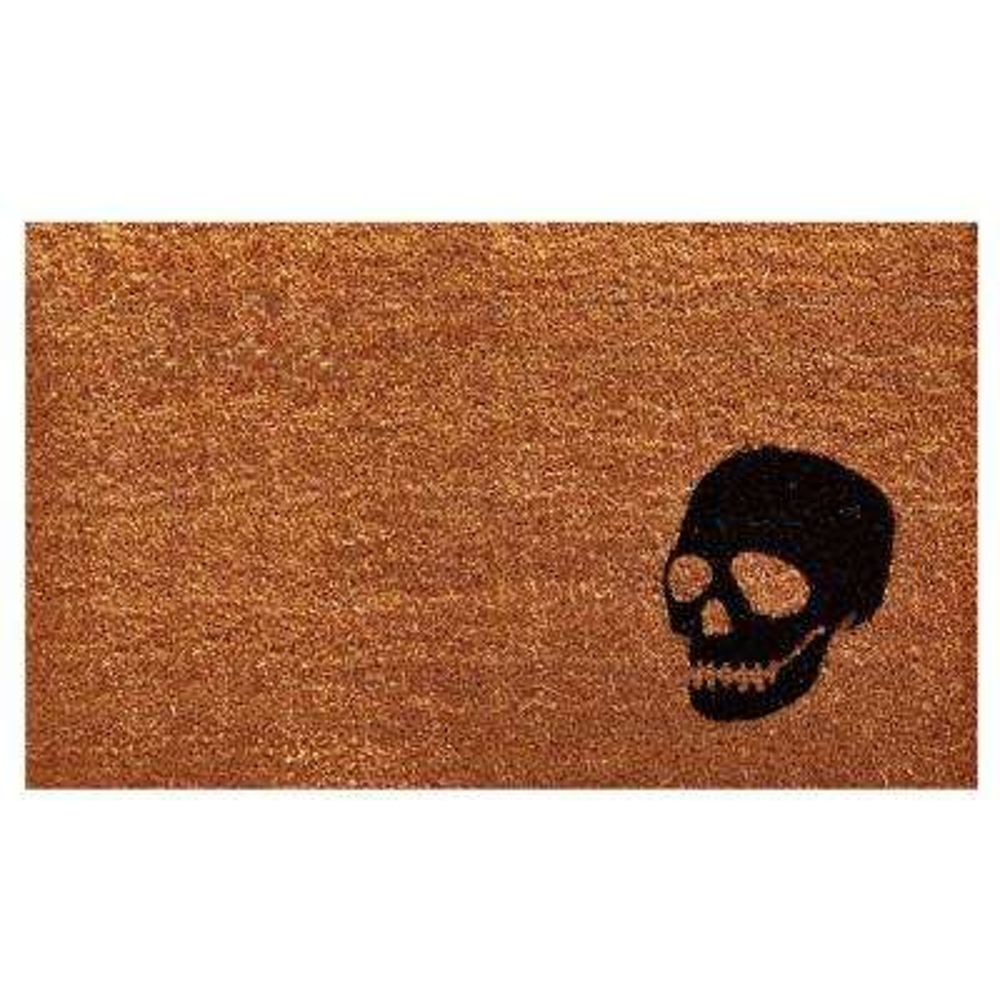 Black Skull 17 in. x 29 in. Coir Door Mat