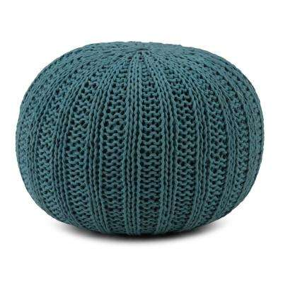 Shelby Teal Round Pouf