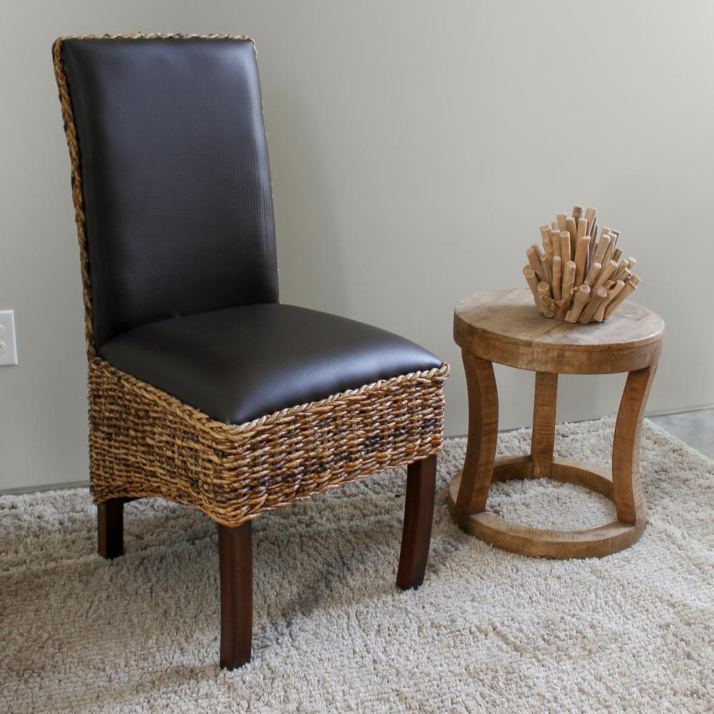 Salma Abaca Dining Chair With Cushioned Faux Leather Seat And Back With  Mahogany Hardwood Frame (