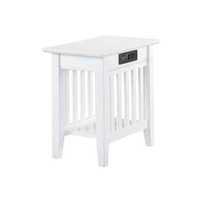 Mission White Chair Side Table with Charger Station