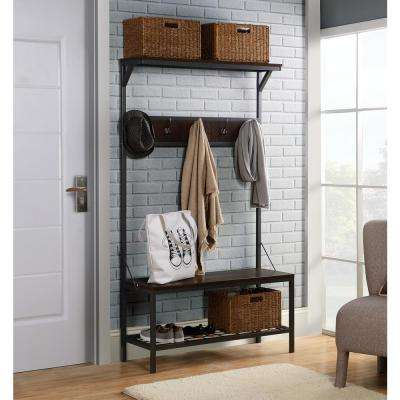 3-Shelf 39 in. Brown Wide Hall Tree in Distressed Mocha