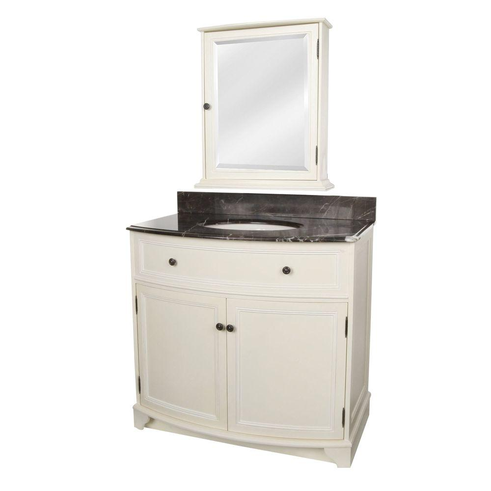 Foremost Arcadia 37-1/4 in. Vanity in Frost White with Marble Top in Dark Emperador and Medicine Cabinet