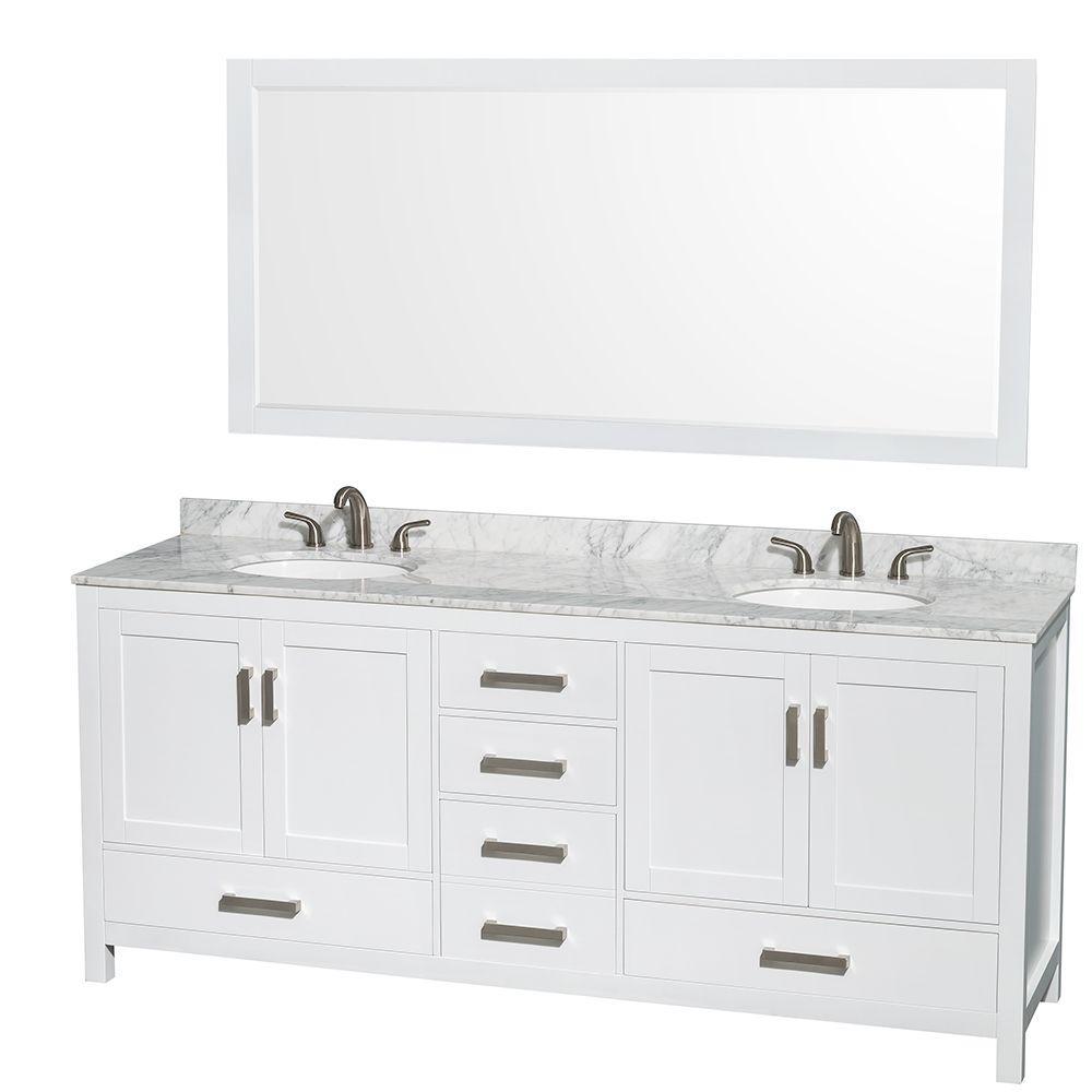 Double Vanity Marble Vanity Top White Mirror 662