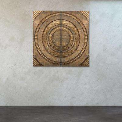 "36 in. x 18 in. Set of 2 - ""Abstract"" Metal Wall Art"