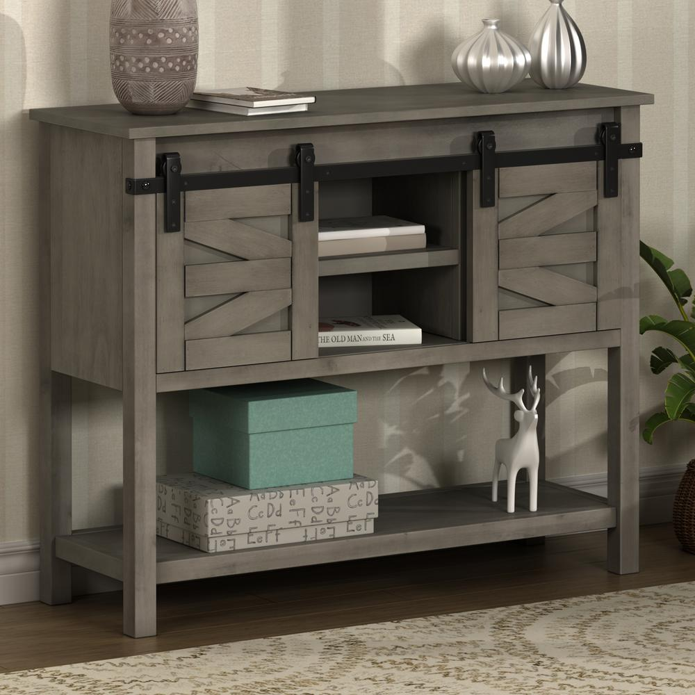 Harper Bright Designs 40 In Gray Standard Rectangle Wood Console Table With 2 Sliding Doors Wf192684aae The Home Depot