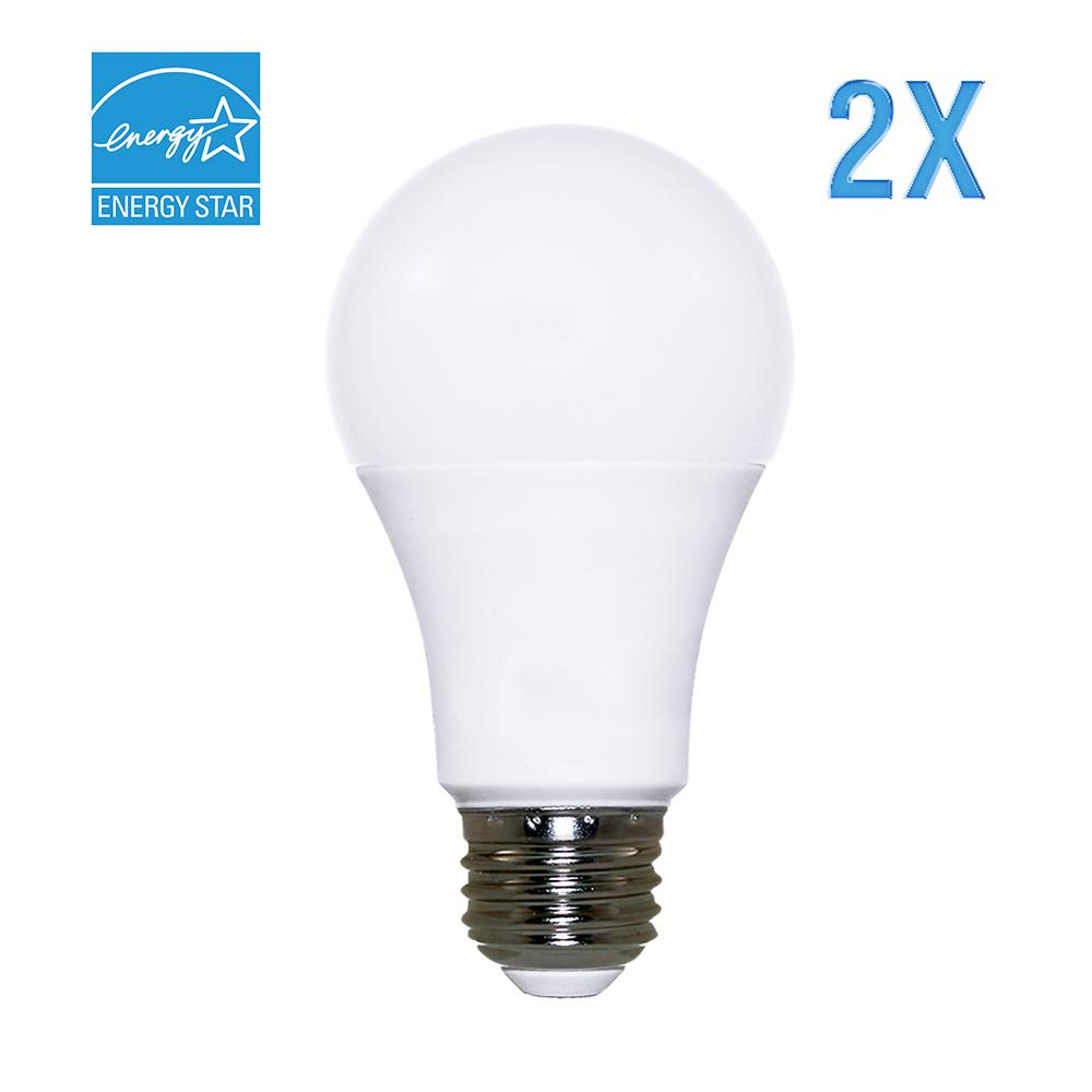 60W Equivalent Cool White (5000K) A19 Dimmable LED Light Bulb (2-Pack)