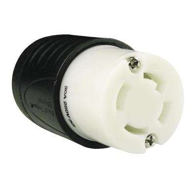Turnlok 30 Amp 250-Volt Locking Connector, Black/White