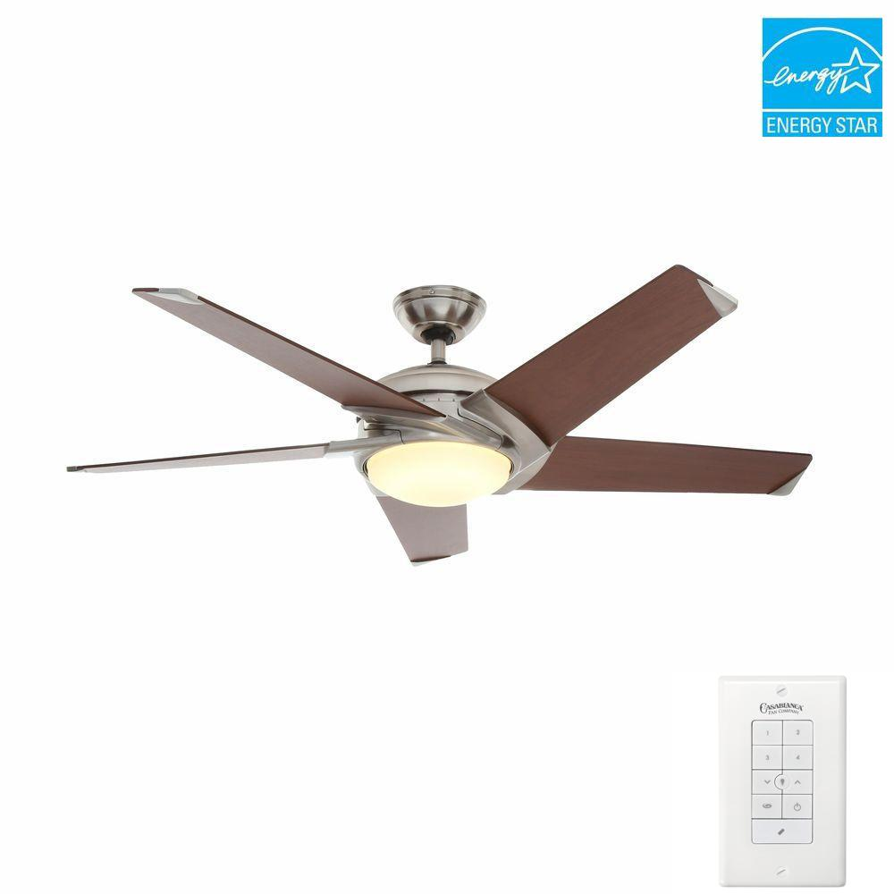 Stealth 54 in. Indoor Brushed Nickel Ceiling Fan with Universal Wall