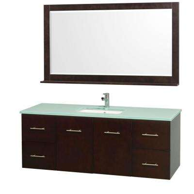 Centra 60 in. Vanity in Espresso with Glass Vanity Top in Aqua and Under-Mounted Sink