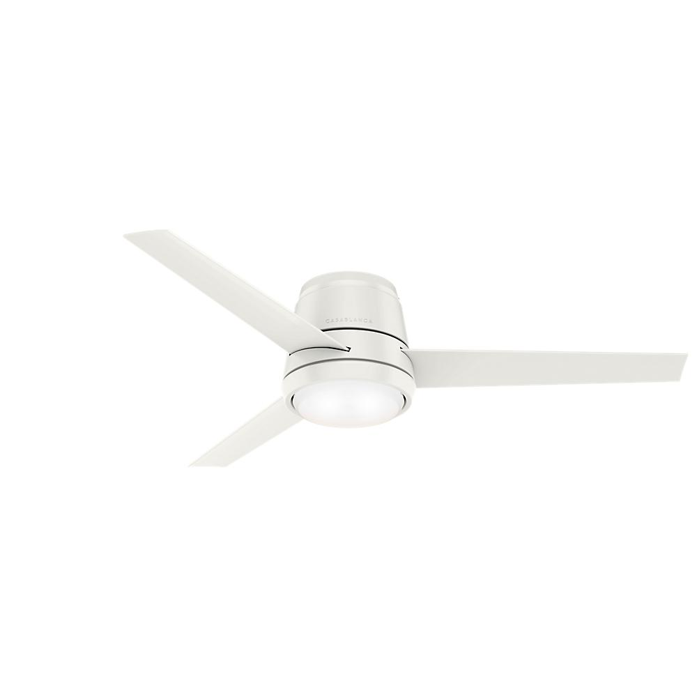 Casablanca Casablanca Commodus 54 in. Integrated LED Low Profile Indoor Fresh White Ceiling Fan with Light Kit and Remote Control