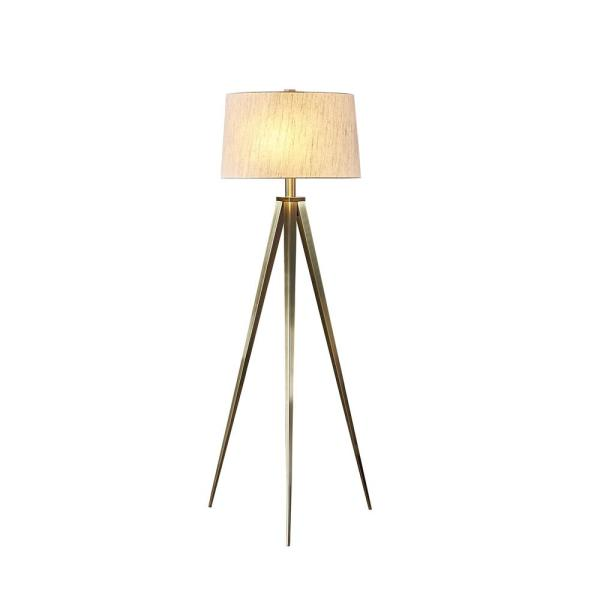 Hollywood 63 in. 2-Light Antique Satin Brass LED Tripod Floor Lamp with Dimmer