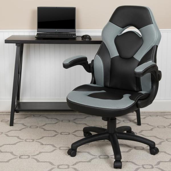 Gray LeatherSoft Upholstery Racing Game Chair