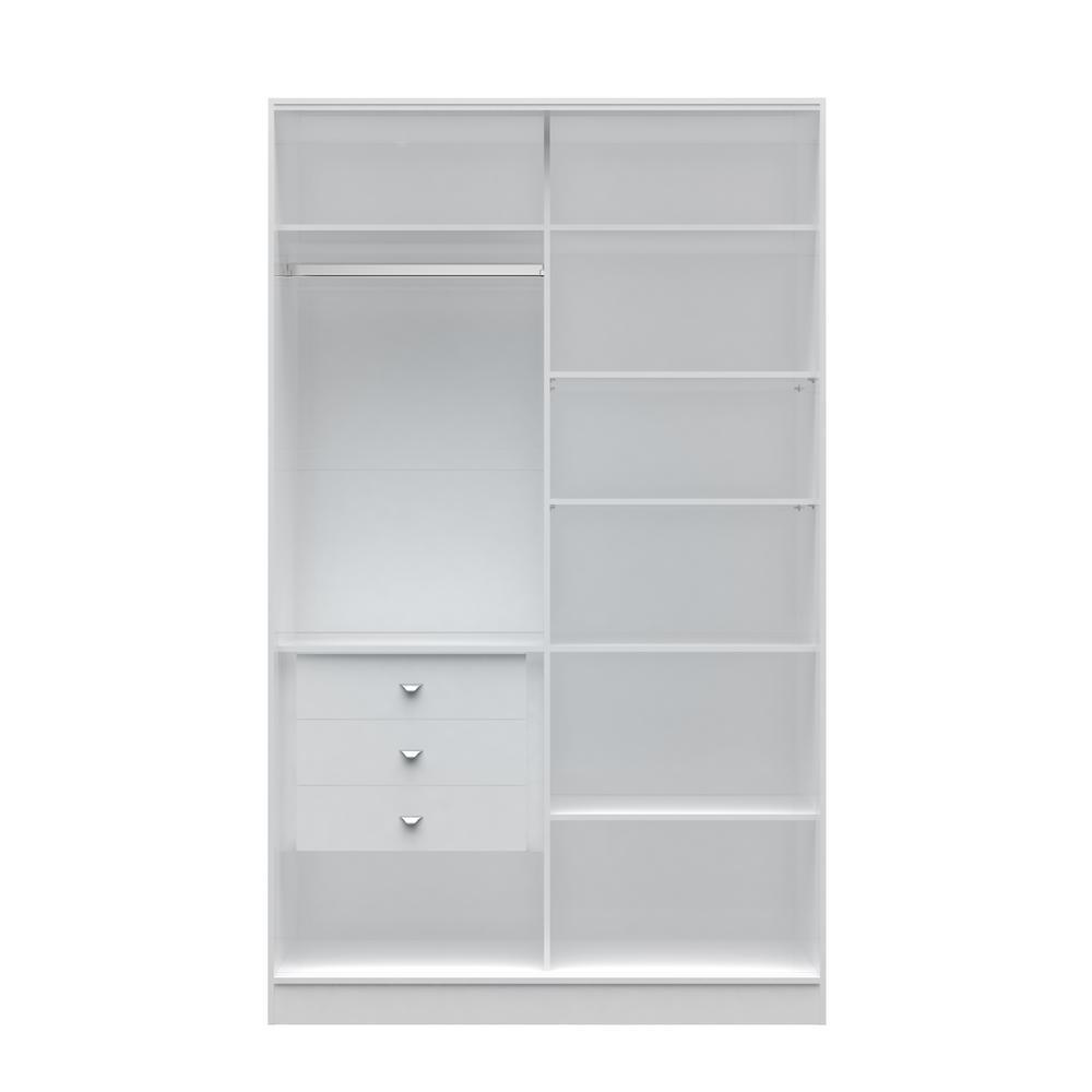 Chelsea 1.0 - 54.33 in. W White Full Wardrobe with 3-Draw...