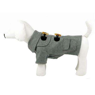 X-Small Static Grey Sargeant Rivited Fashion Collared Wool Dog Coat