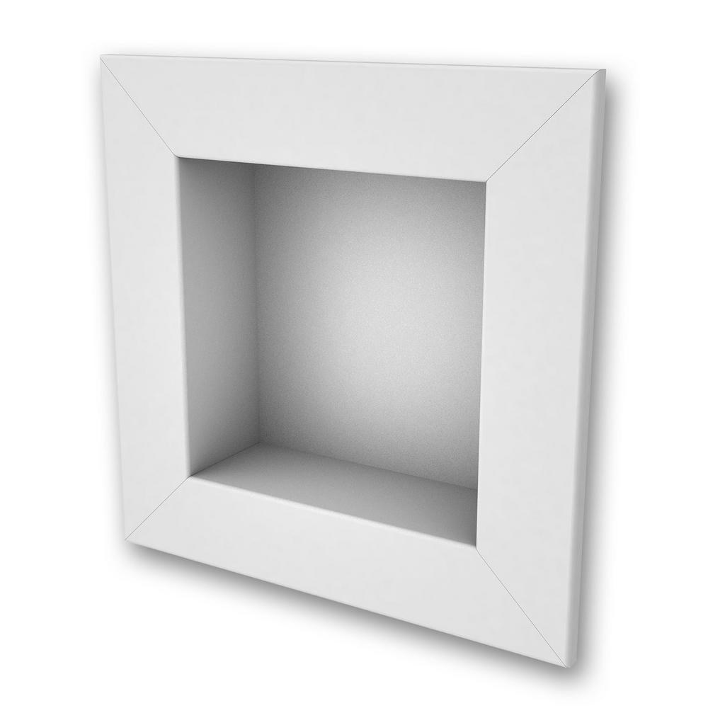 FlexStone 11 in. x 11 in. Square Recessed Shampoo Caddy in White ...