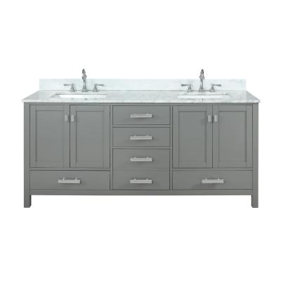 Valentino 72 in. W x 22 in. D Bath Vanity in Gray with Carrara Marble Vanity Top in White with White Basin
