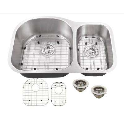 All-in-One Undermount Stainless Steel 31.5 in. Double Bowl Kitchen Sink