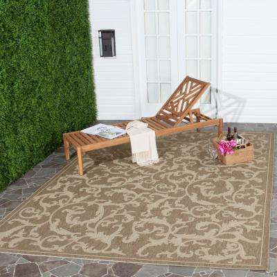 Courtyard Brown/Natural 7 ft. x 10 ft. Indoor/Outdoor Area Rug