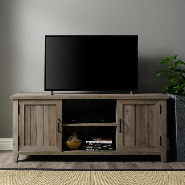 58 in. Gray Wash Composite TV Console 62 in. with Doors