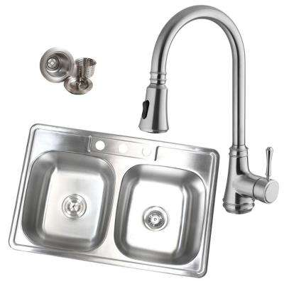 Topmount Drop-In Stainless Steel 33-1/8 in. x 22 in. x 9 in. 18-Gauge 3-Hole 50/50 Double Bowl Kitchen Sink with Faucet