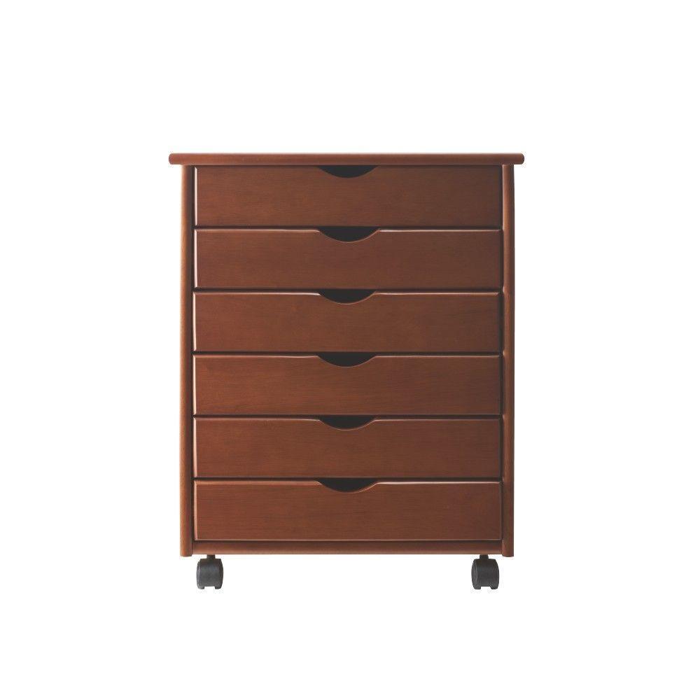 Stanton Wide 6-Drawer Storage Cart in Walnut