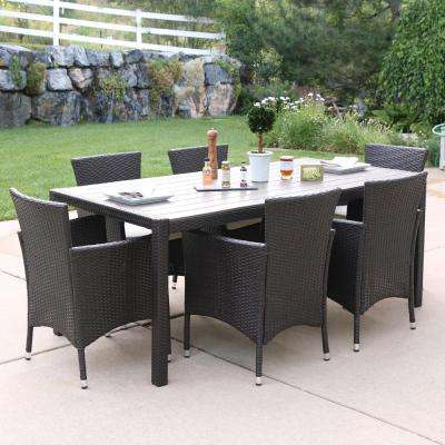Brown Rattan 7-Piece Outdoor Dining Set with White Cushions