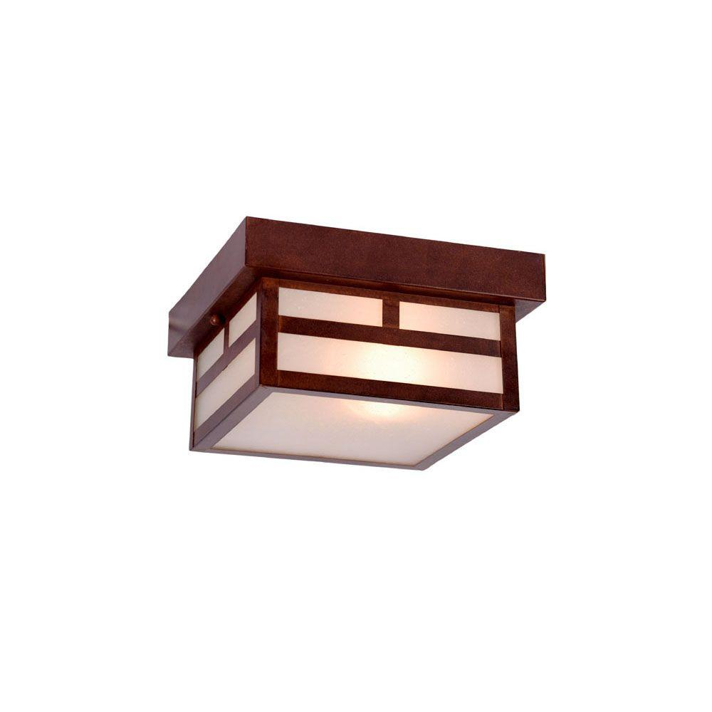 Artisan Collection 1-Light Architectural Bronze Outdoor Ceiling-Mount Light