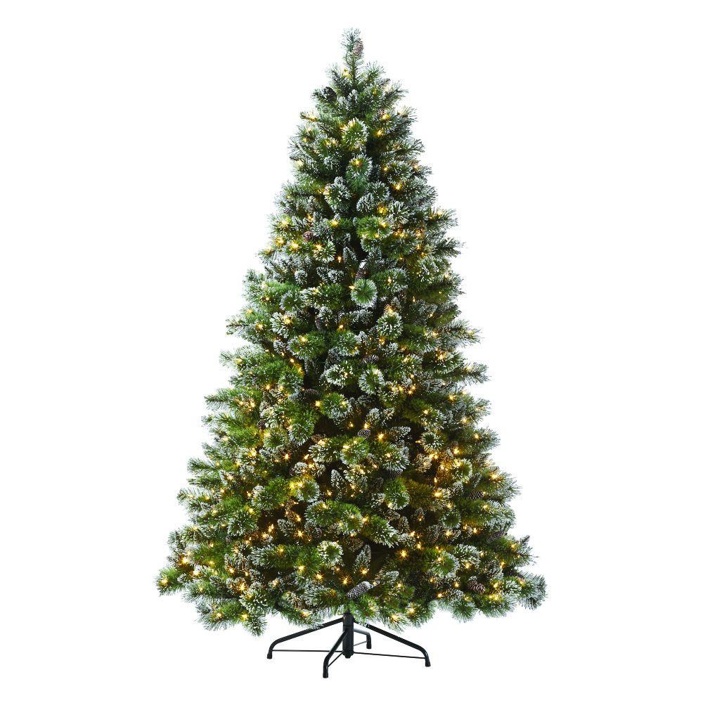 75 ft indoor pre lit glittery bristle pine artificial christmas tree - 8 Ft Christmas Tree
