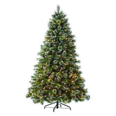 7.5 ft. Indoor Pre-Lit Glittery Bristle Pine Artificial Christmas Tree