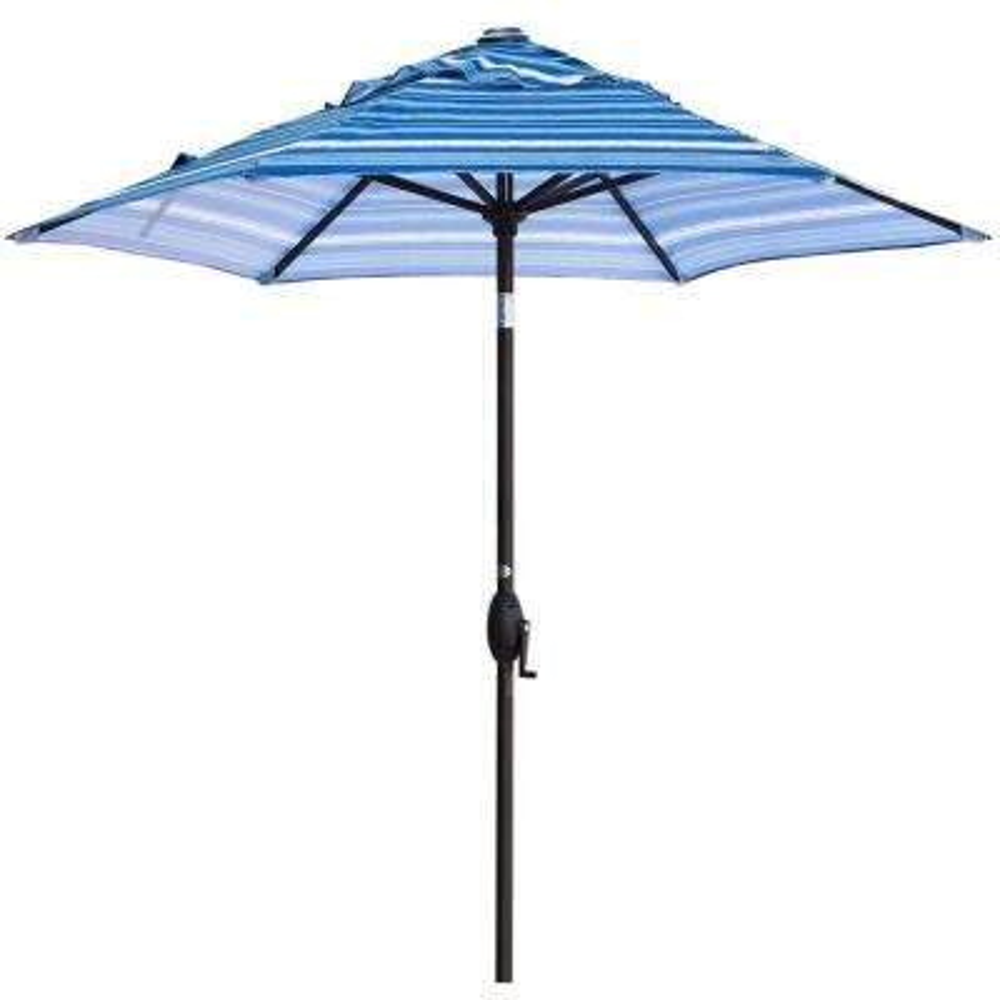 7-1/2 ft. Aluminum Market Push Button Tilt and Crank Patio Umbrella in Blue Stripe