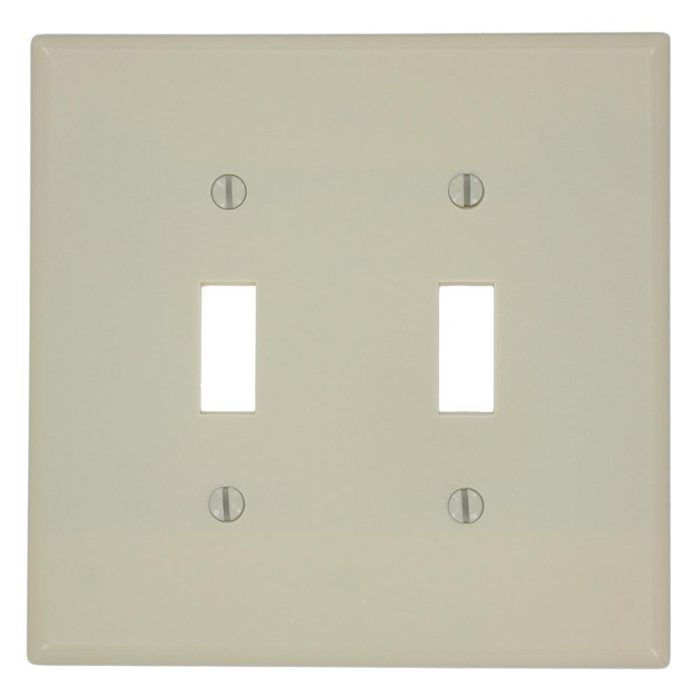 Leviton 2 Gang Toggle Switch Wall Plate Ivory 80509 I The Home Depot