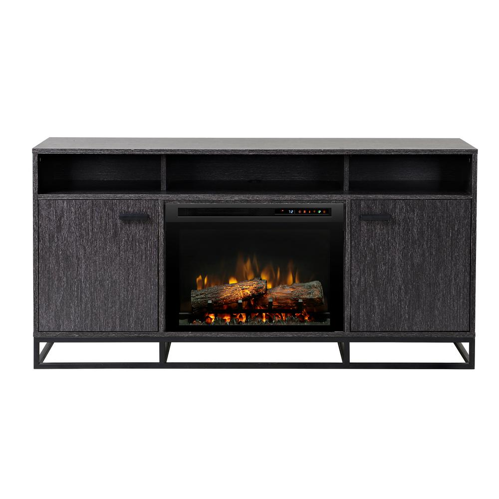 Dimplex Reily 64 in. Freestanding Electric Media Console in Grey Cerused