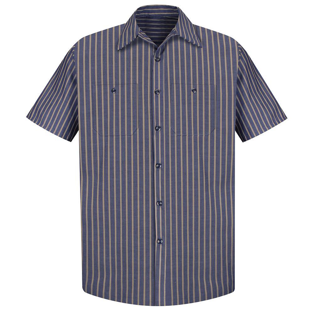 Men's Size XL (Tall) Navy / Khaki Stripe Industrial Stripe Work Shirt