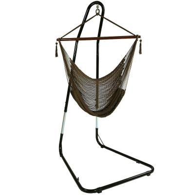 4 ft. Hanging Caribbean XL Hammock Chair with Adjustable Stand in Mocha