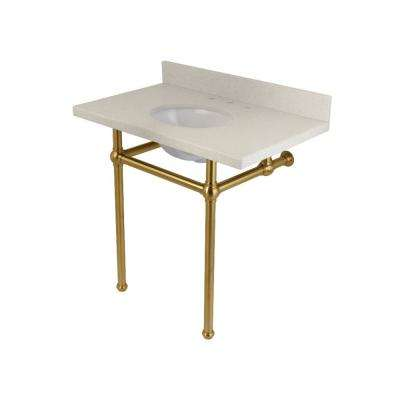 Washstand 36 in. Console Table in White Quartz with Metal Legs in Satin Brass