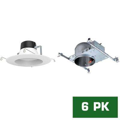 6 in. LED Recessed New Construction Shallow Height Housing with Standard Retrofit White LED Trim Kit, 5000K (6-Pack)