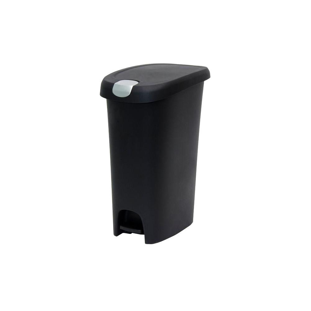 Hefty 12 Gal. Black Slim Step-On Trash Can with Locking Lid-HFT ...