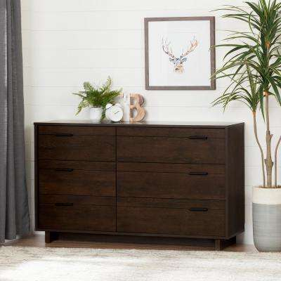 Fynn 6-Drawer Brown Oak Dresser
