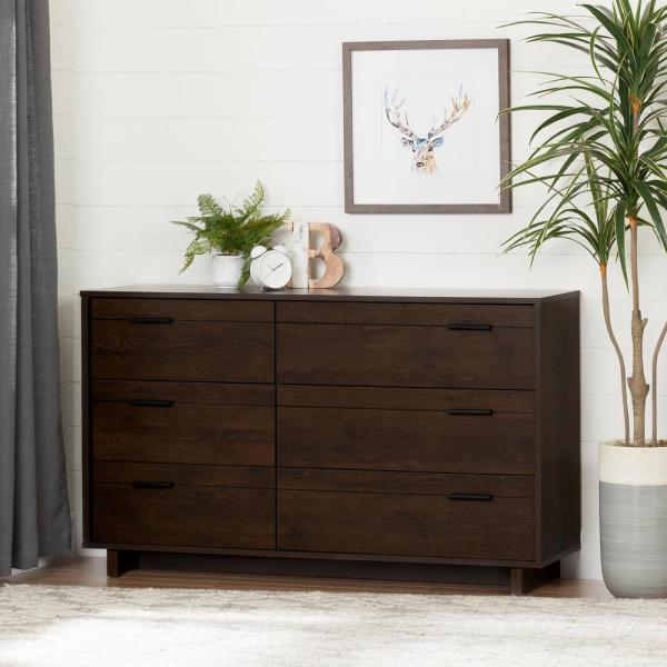 South Shore Fynn 6-Drawer Brown Oak Dresser 10279