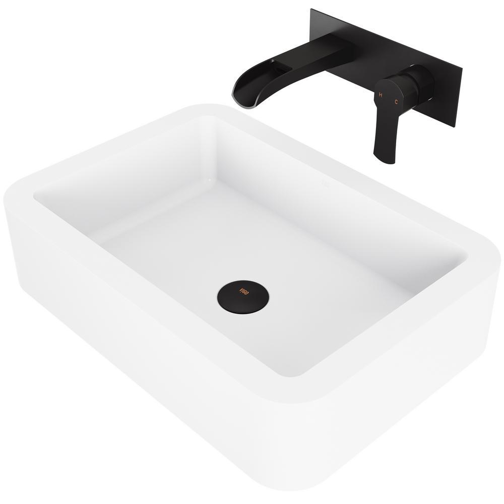 Petunia Matte Stone Vessel Bathroom Sink Set with Cornelius Wall Mount Bathroom Faucet in Matte Black
