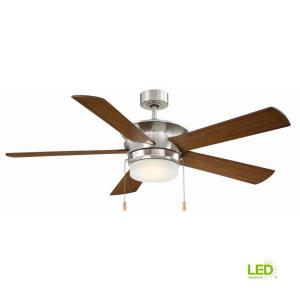 brushed nickel ceiling fans with lights cf52cap5bn 64_300 hugger 52 in led indoor brushed nickel ceiling fan with light kit