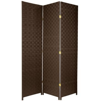 6 ft. Dark Brown 3-Panel Room Divider
