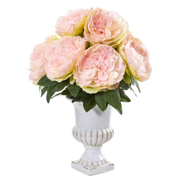 Nearly Natural Peony Artificial Arrangement in White Urn