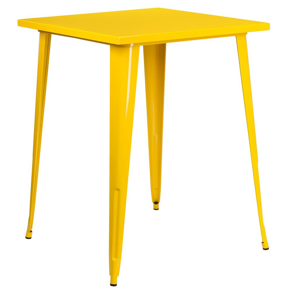Flash Furniture Yellow Square Metal Outdoor Bistro Table