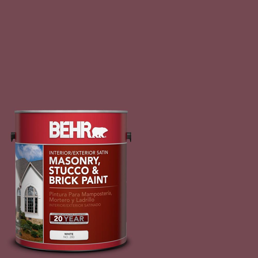 1 gal. #PPU2-20 Oxblood Satin Interior/Exterior Masonry, Stucco and Brick Paint
