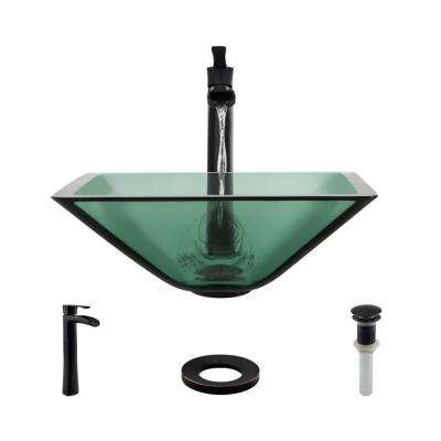 Glass Vessel Sink in Ivy with R9-7007 Faucet and Pop-Up Drain in Antique Bronze